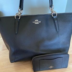 Coach tote with new wallet